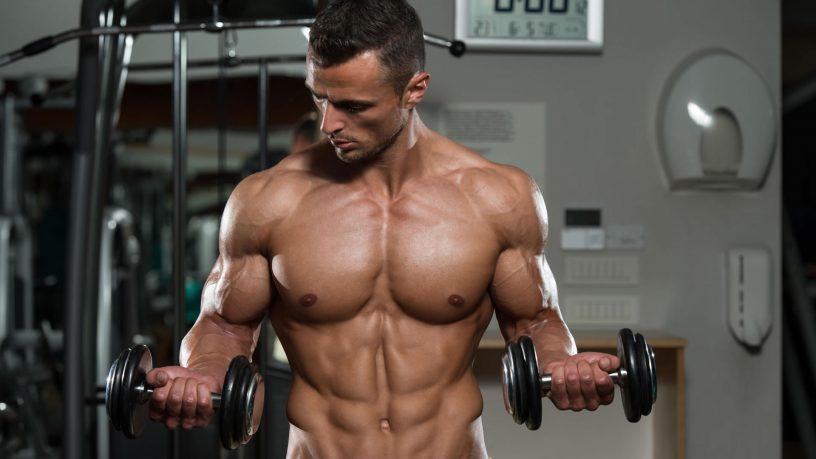 Biceps con mancuernas en casa